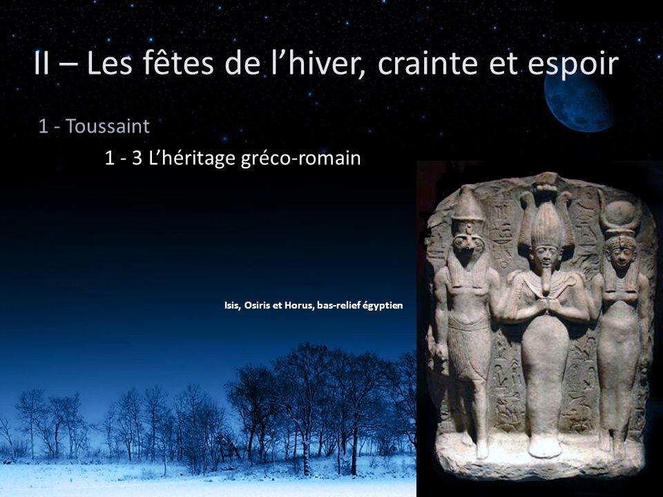 II – Les fêtes de lhiver, crainte et espoir 1 - Toussaint 1 - 3 Lhéritage gréco-romain Isis, Osiris et Horus, bas-relief égyptien