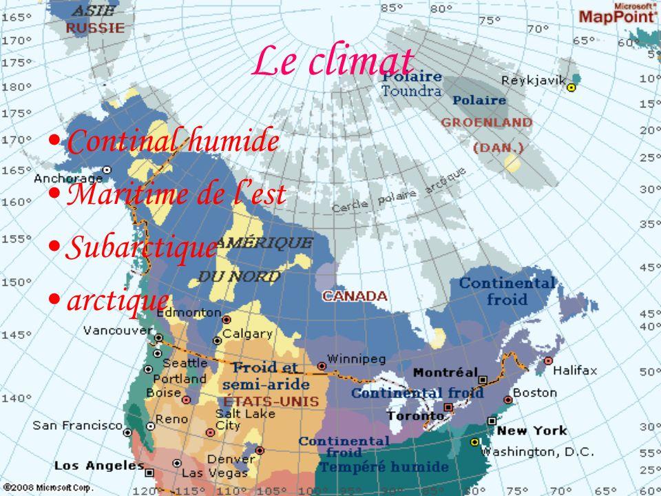 Le climat Continal humide Maritime de lest Subarctique arctique