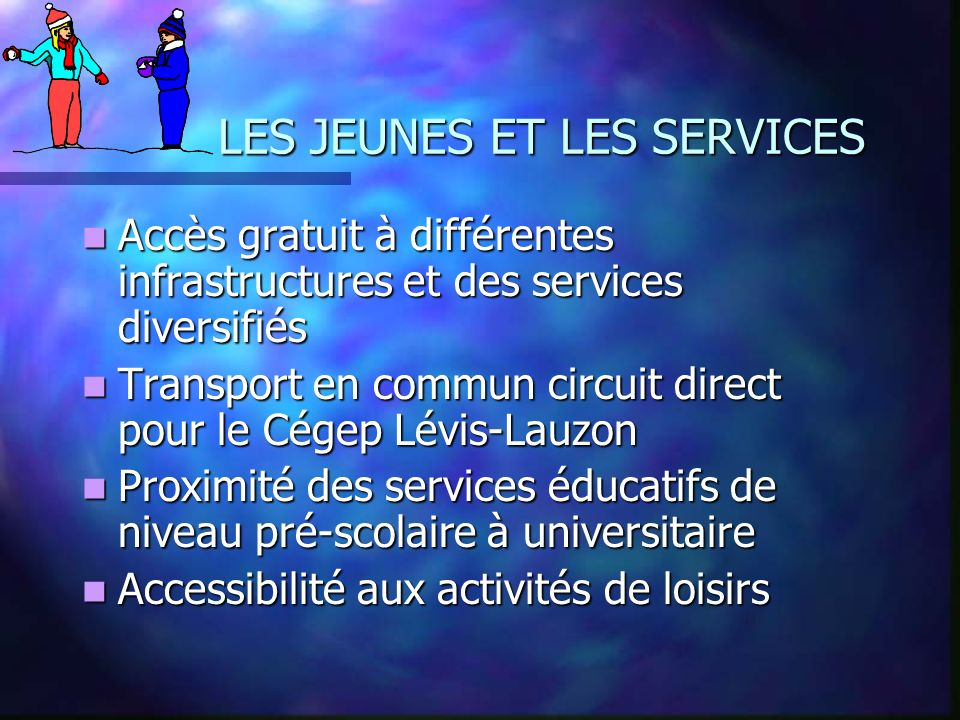 LES JEUNES ET LES SERVICES Accès gratuit à différentes infrastructures et des services diversifiés Accès gratuit à différentes infrastructures et des