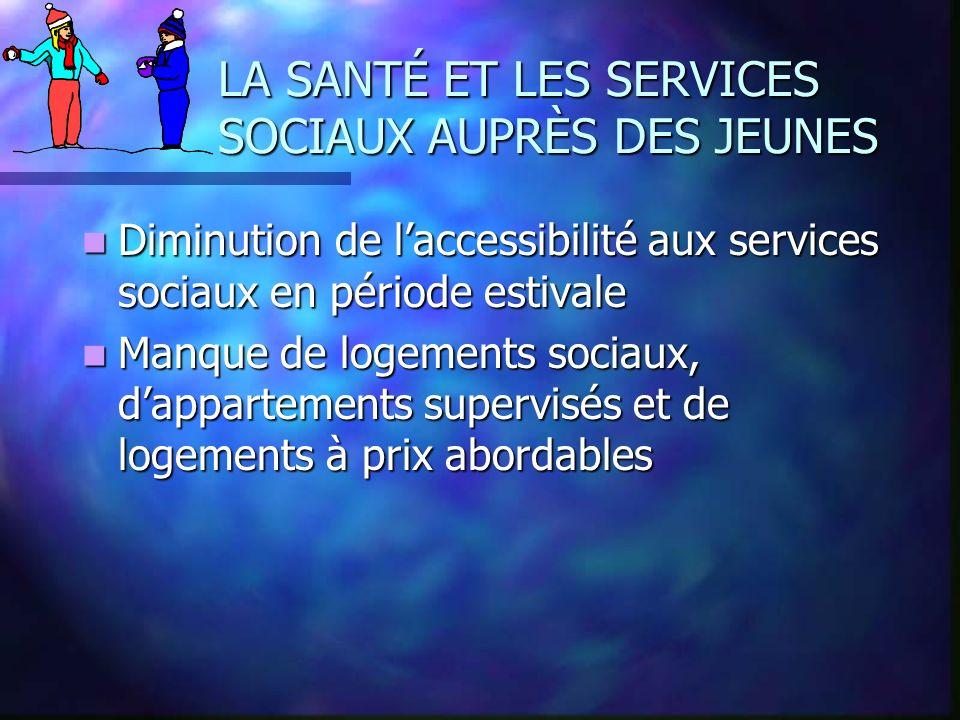 LA SANTÉ ET LES SERVICES SOCIAUX AUPRÈS DES JEUNES Diminution de laccessibilité aux services sociaux en période estivale Diminution de laccessibilité