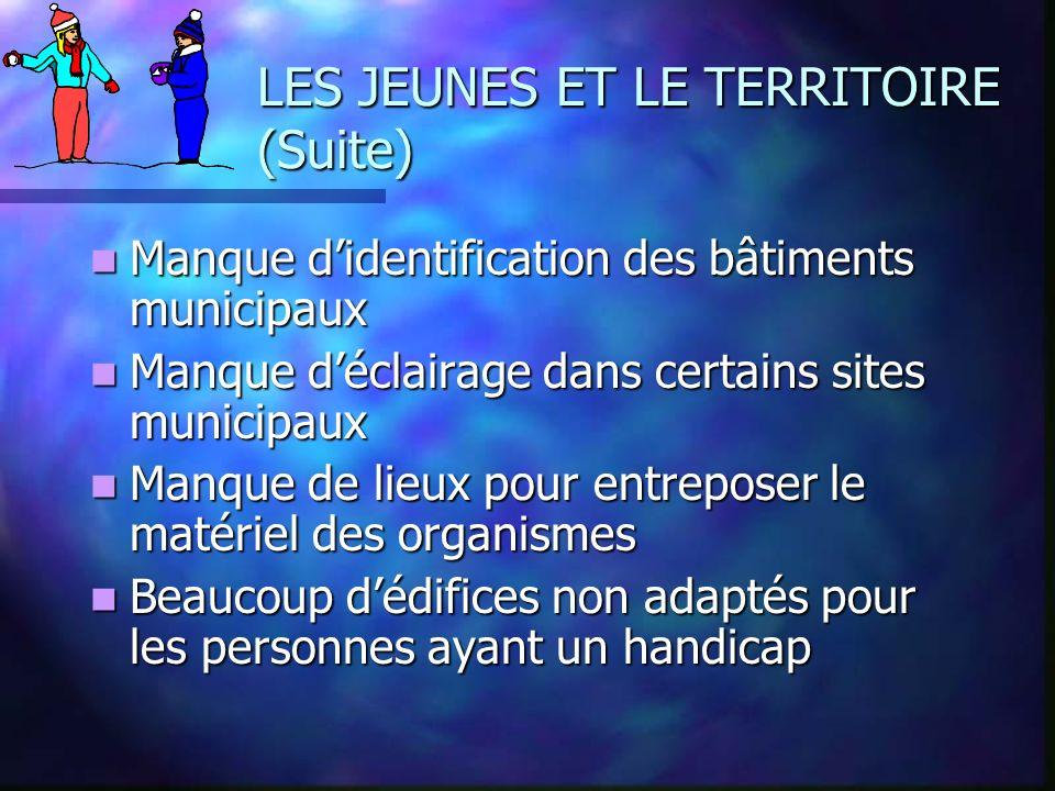 LES JEUNES ET LE TERRITOIRE (Suite) Manque didentification des bâtiments municipaux Manque didentification des bâtiments municipaux Manque déclairage