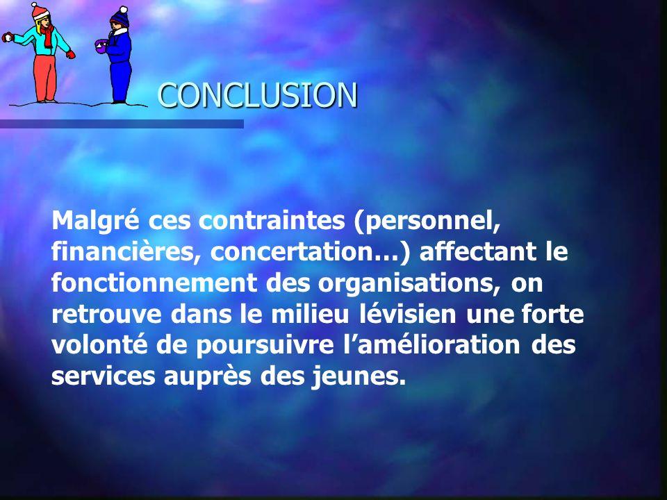 CONCLUSION Malgré ces contraintes (personnel, financières, concertation…) affectant le fonctionnement des organisations, on retrouve dans le milieu lé