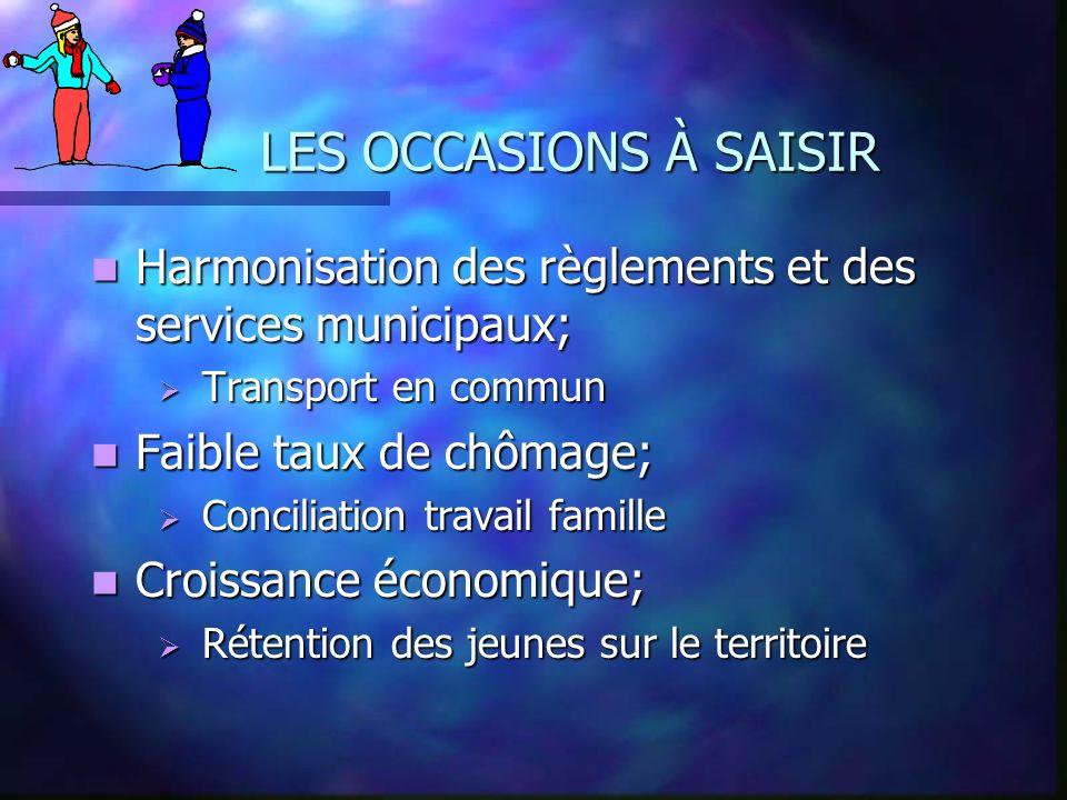 LES OCCASIONS À SAISIR Harmonisation des règlements et des services municipaux; Harmonisation des règlements et des services municipaux; Transport en