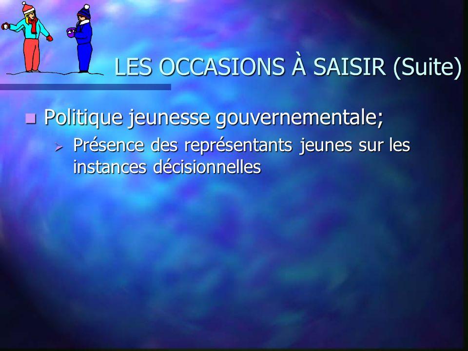 LES OCCASIONS À SAISIR (Suite) Politique jeunesse gouvernementale; Politique jeunesse gouvernementale; Présence des représentants jeunes sur les insta