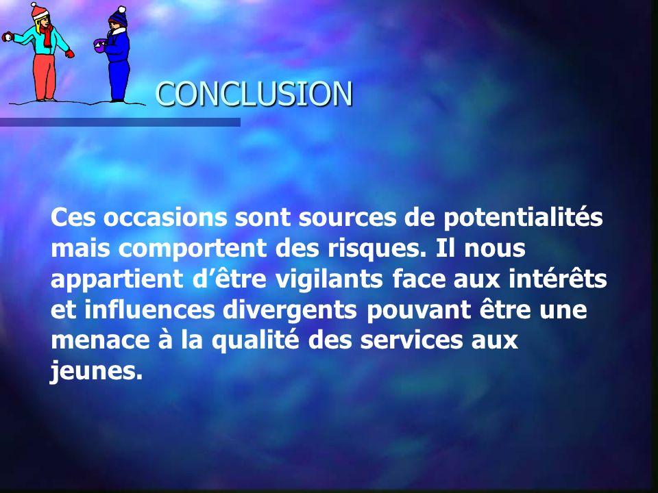 CONCLUSION Ces occasions sont sources de potentialités mais comportent des risques.