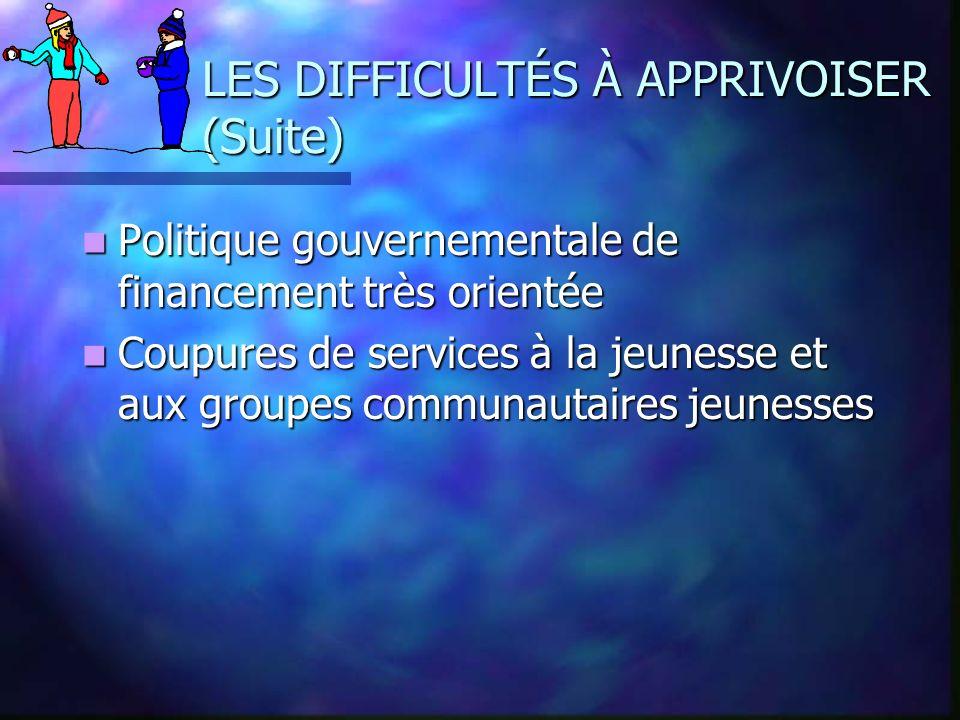 LES DIFFICULTÉS À APPRIVOISER (Suite) Politique gouvernementale de financement très orientée Politique gouvernementale de financement très orientée Co