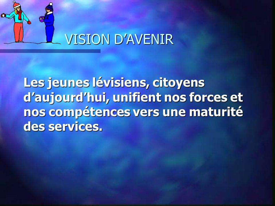 VISION DAVENIR Les jeunes lévisiens, citoyens daujourdhui, unifient nos forces et nos compétences vers une maturité des services.