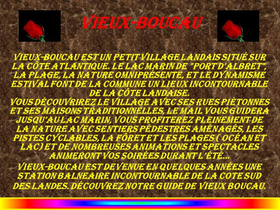 Vieux-Boucau Vieux-boucau est un petit village landais situé sur la côte Atlantique. Le Lac Marin de