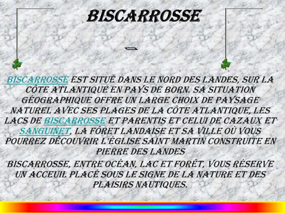 Biscarrosse Biscarrosse est situé dans le nord des Landes, sur la côte Atlantique en Pays de Born. Sa situation géographique offre un large choix de p