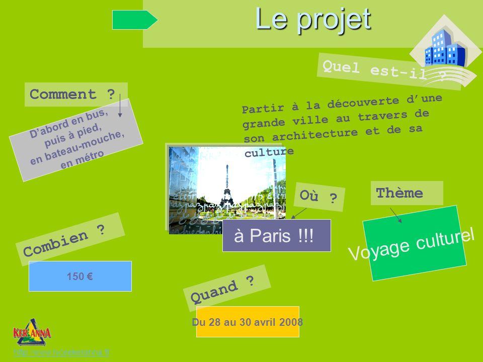 Thème Voyage culturel Du 28 au 30 avril 2008 Quand ? Dabord en bus, puis à pied, en bateau-mouche, en métro Comment ? Où ? à Paris !!! Partir à la déc