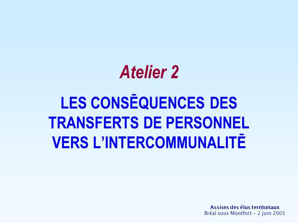 Assises des élus territoriaux Bréal sous Montfort - 2 juin 2005 Atelier 2 LES CONSĒQUENCES DES TRANSFERTS DE PERSONNEL VERS LINTERCOMMUNALITĒ
