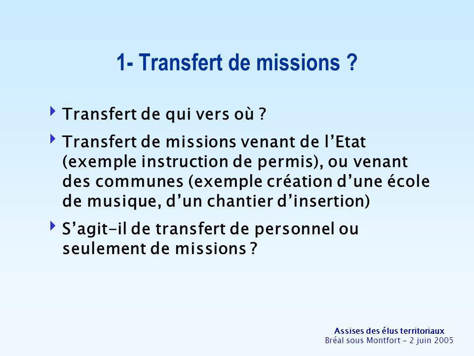 Assises des élus territoriaux Bréal sous Montfort - 2 juin 2005 Transfert de qui vers où ? Transfert de missions venant de lEtat (exemple instruction