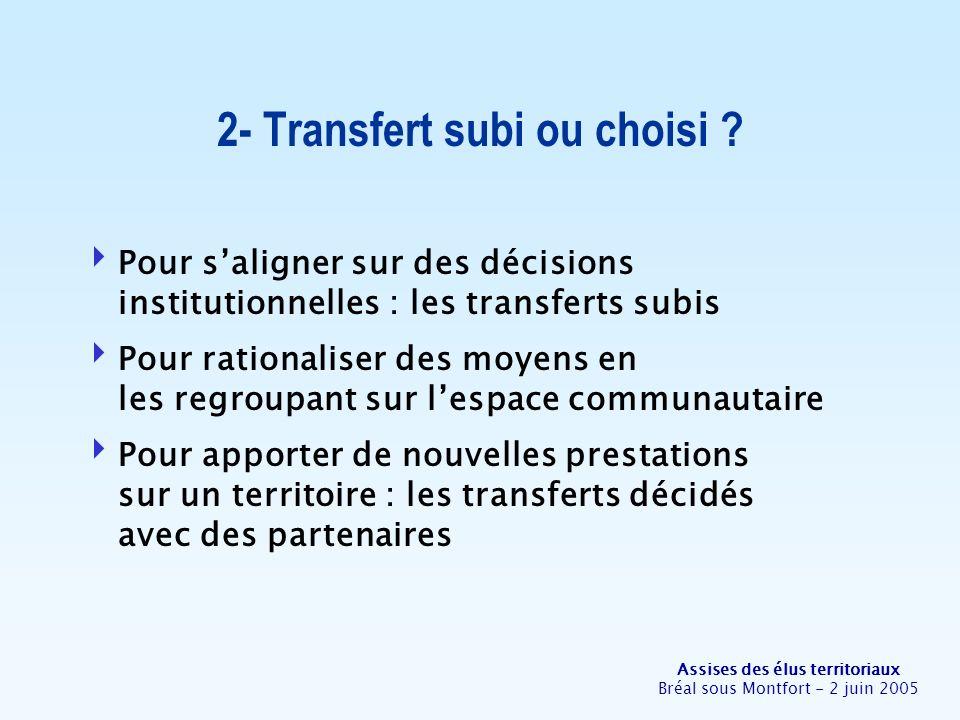 Assises des élus territoriaux Bréal sous Montfort - 2 juin 2005 2- Transfert subi ou choisi ? Pour saligner sur des décisions institutionnelles : les