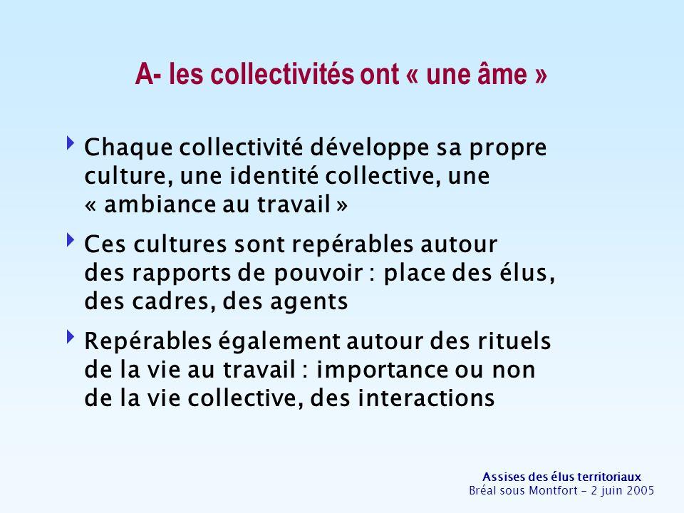 Assises des élus territoriaux Bréal sous Montfort - 2 juin 2005 A- les collectivités ont « une âme » Chaque collectivité développe sa propre culture,