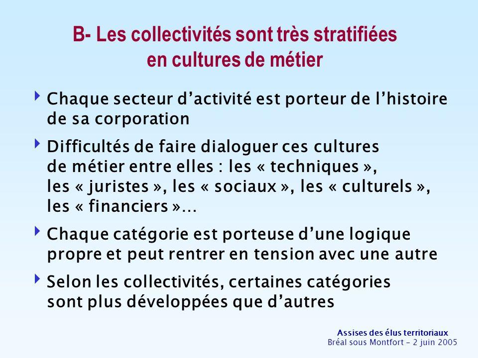 Assises des élus territoriaux Bréal sous Montfort - 2 juin 2005 B- Les collectivités sont très stratifiées en cultures de métier Chaque secteur dactiv