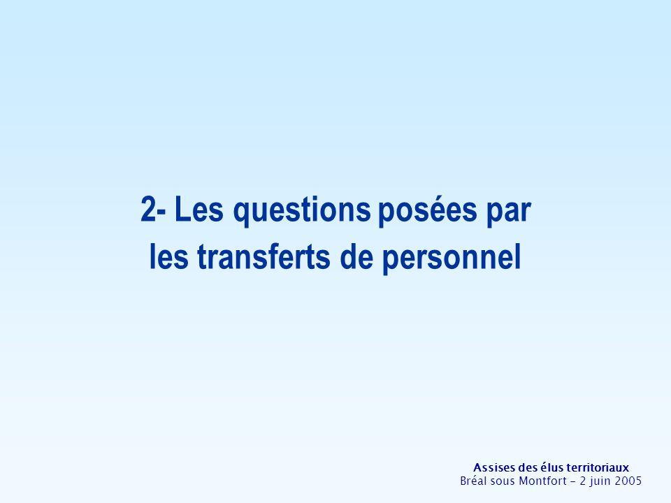 Assises des élus territoriaux Bréal sous Montfort - 2 juin 2005 2- Les questions posées par les transferts de personnel