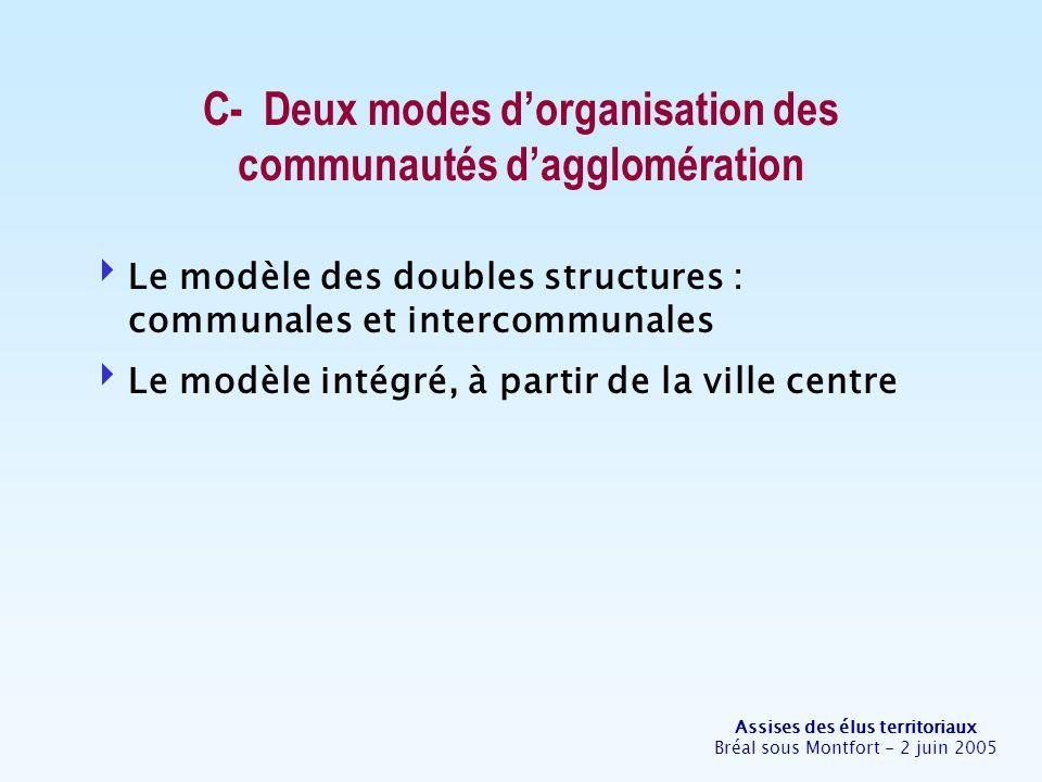 Assises des élus territoriaux Bréal sous Montfort - 2 juin 2005 C- Deux modes dorganisation des communautés dagglomération Le modèle des doubles structures : communales et intercommunales Le modèle intégré, à partir de la ville centre