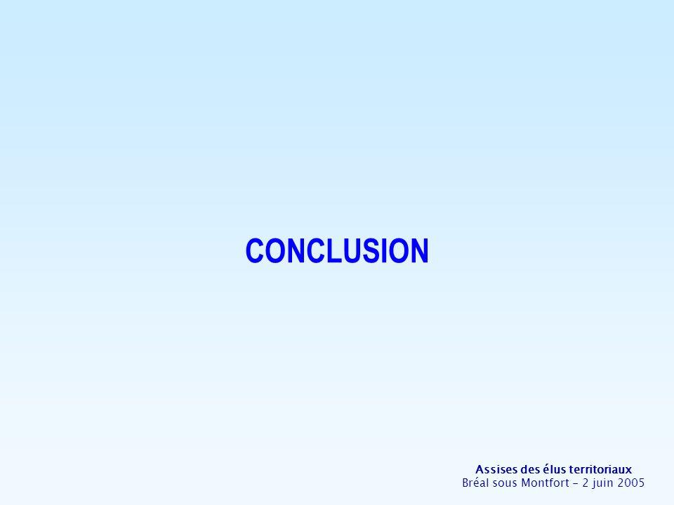 Assises des élus territoriaux Bréal sous Montfort - 2 juin 2005 CONCLUSION