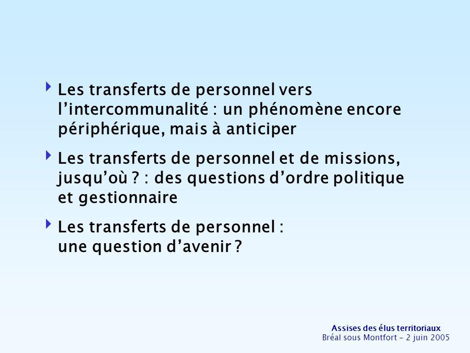 Assises des élus territoriaux Bréal sous Montfort - 2 juin 2005 Les transferts de personnel vers lintercommunalité : un phénomène encore périphérique, mais à anticiper Les transferts de personnel et de missions, jusquoù .