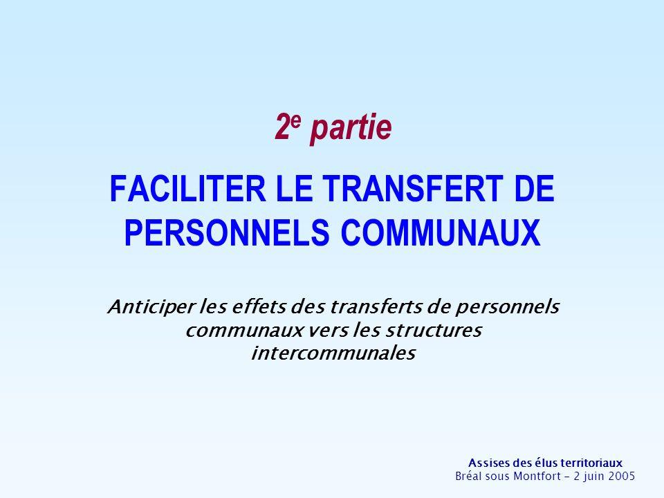 Assises des élus territoriaux Bréal sous Montfort - 2 juin 2005 A- Le transfert dagents isolés Existe-t-il des procédures daccueil pour faciliter lintégration dun nouvel agent .