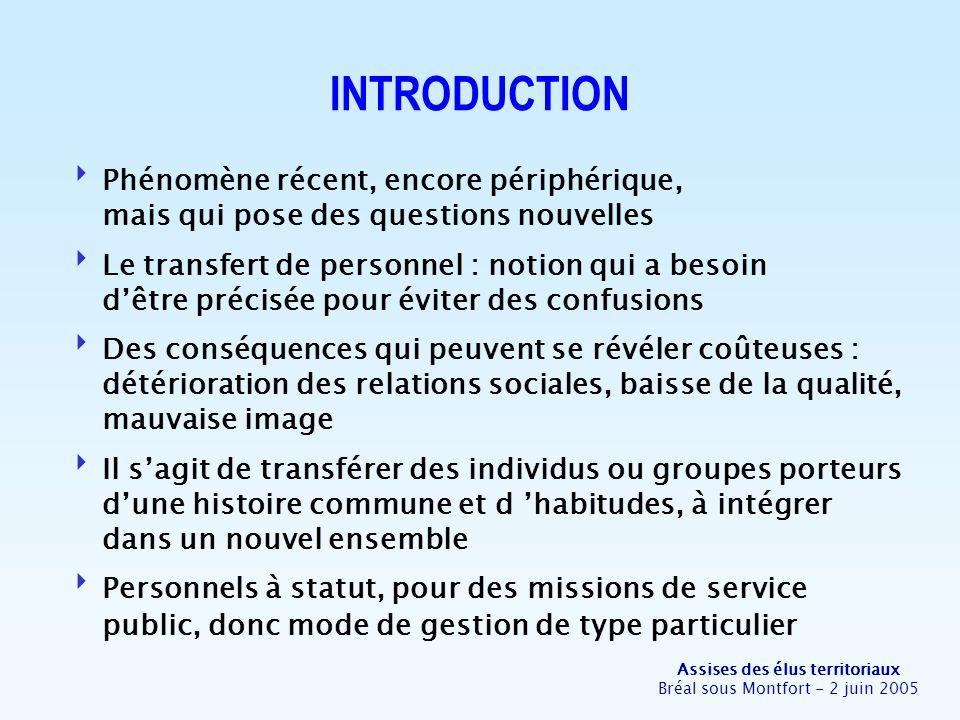Assises des élus territoriaux Bréal sous Montfort - 2 juin 2005 INTRODUCTION Phénomène récent, encore périphérique, mais qui pose des questions nouvel