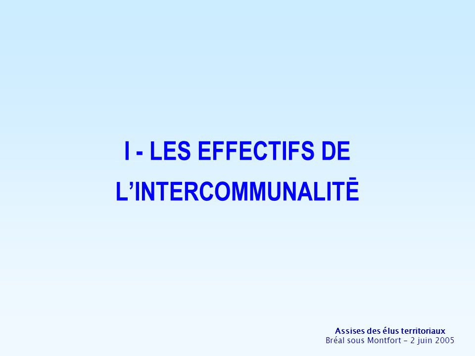 Assises des élus territoriaux Bréal sous Montfort - 2 juin 2005 1- Des évolutions institutionnelles dampleur depuis 10 ans