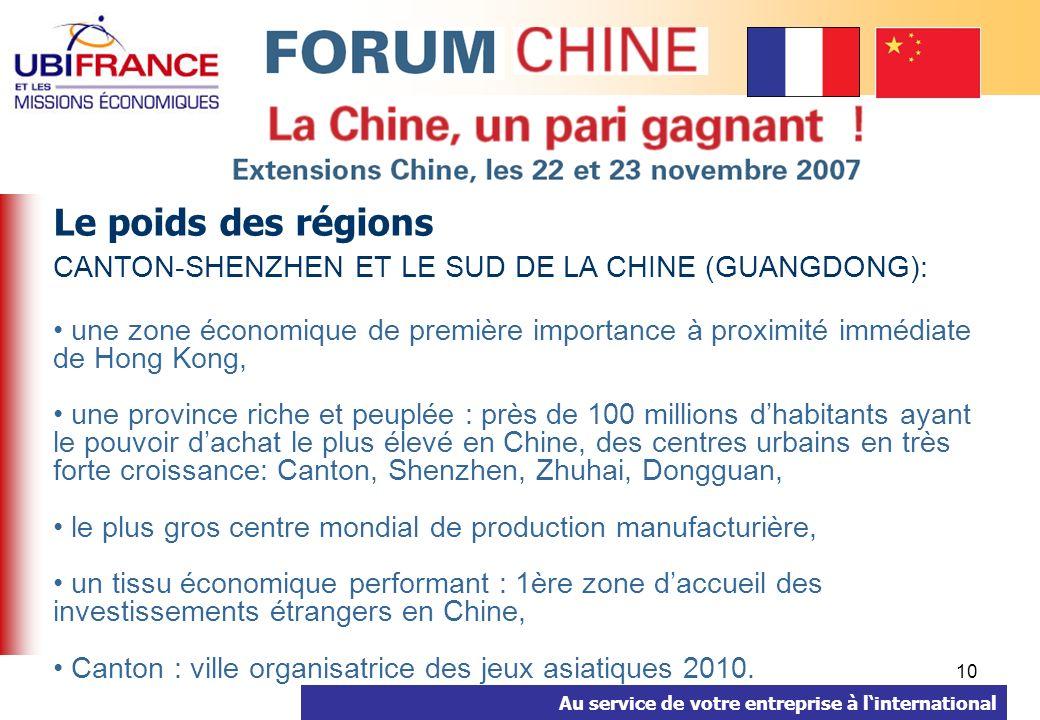 Au service de votre entreprise à linternational 10 Le poids des régions CANTON-SHENZHEN ET LE SUD DE LA CHINE (GUANGDONG): une zone économique de première importance à proximité immédiate de Hong Kong, une province riche et peuplée : près de 100 millions dhabitants ayant le pouvoir dachat le plus élevé en Chine, des centres urbains en très forte croissance: Canton, Shenzhen, Zhuhai, Dongguan, le plus gros centre mondial de production manufacturière, un tissu économique performant : 1ère zone daccueil des investissements étrangers en Chine, Canton : ville organisatrice des jeux asiatiques 2010.