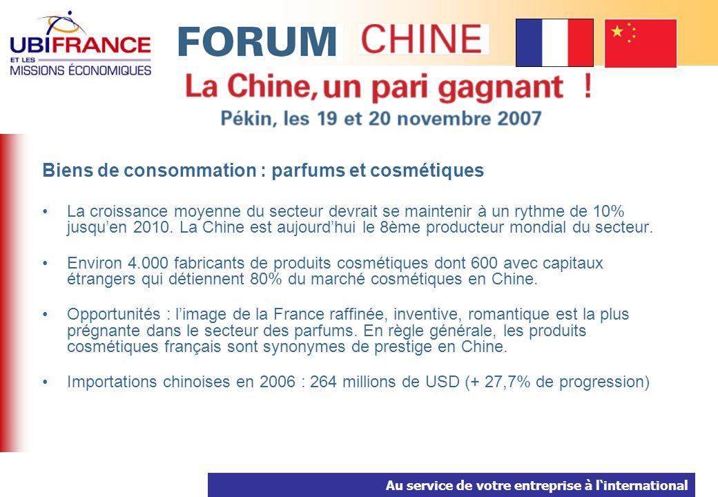 Au service de votre entreprise à linternational Biens de consommation : parfums et cosmétiques La croissance moyenne du secteur devrait se maintenir à un rythme de 10% jusquen 2010.