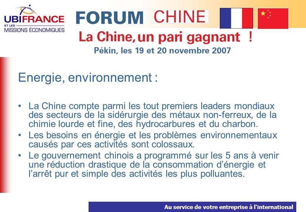Au service de votre entreprise à linternational Energie, environnement : La Chine compte parmi les tout premiers leaders mondiaux des secteurs de la sidérurgie des métaux non-ferreux, de la chimie lourde et fine, des hydrocarbures et du charbon.