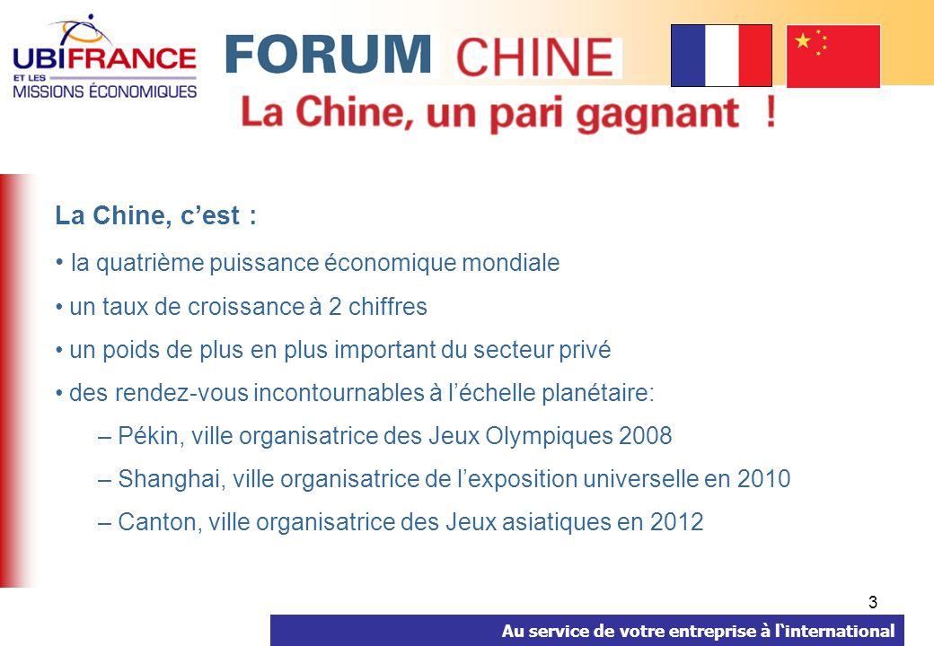 Au service de votre entreprise à linternational 4 Le Forum PME à Pékin est une action collective denvergure à la dimension du marché et des enjeux commerciaux.