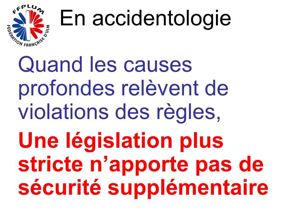 En accidentologie Quand les causes profondes relèvent de violations des règles, Une législation plus stricte napporte pas de sécurité supplémentaire