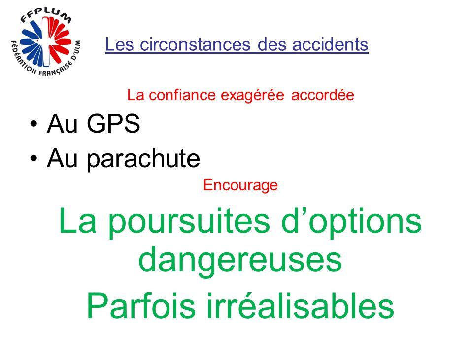 Les circonstances des accidents La confiance exagérée accordée Au GPS Au parachute Encourage La poursuites doptions dangereuses Parfois irréalisables