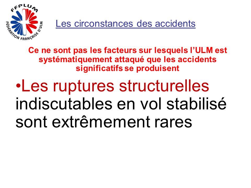 Les circonstances des accidents Ce ne sont pas les facteurs sur lesquels lULM est systématiquement attaqué que les accidents significatifs se produisent Les ruptures structurelles indiscutables en vol stabilisé sont extrêmement rares