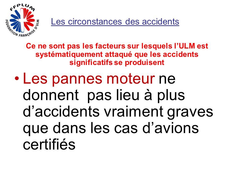 Les circonstances des accidents Ce ne sont pas les facteurs sur lesquels lULM est systématiquement attaqué que les accidents significatifs se produisent Les pannes moteur ne donnent pas lieu à plus daccidents vraiment graves que dans les cas davions certifiés