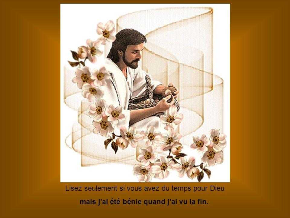 Lisez seulement si vous avez du temps pour Dieu mais j ai été bénie quand j ai vu la fin.