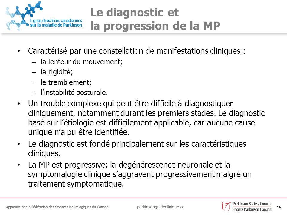 16 Le diagnostic et la progression de la MP Caractérisé par une constellation de manifestations cliniques : – la lenteur du mouvement; – la rigidité;