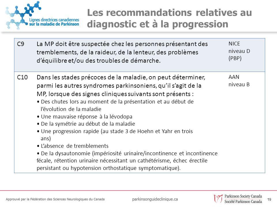 19 Les recommandations relatives au diagnostic et à la progression C9La MP doit être suspectée chez les personnes présentant des tremblements, de la r