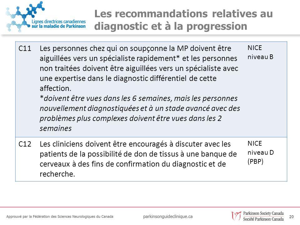21 Les recommandations relatives au diagnostic et à la progression C13Les données factuelles sont insuffisantes pour déterminer si des tests de provocation à la lévodopa ou olfactifs représentent un avantage par rapport aux critères de diagnostic cliniques de la MP.