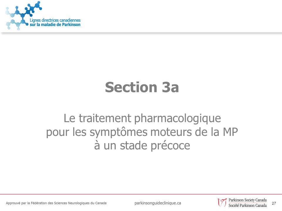 27 Le traitement pharmacologique pour les symptômes moteurs de la MP à un stade précoce Section 3a