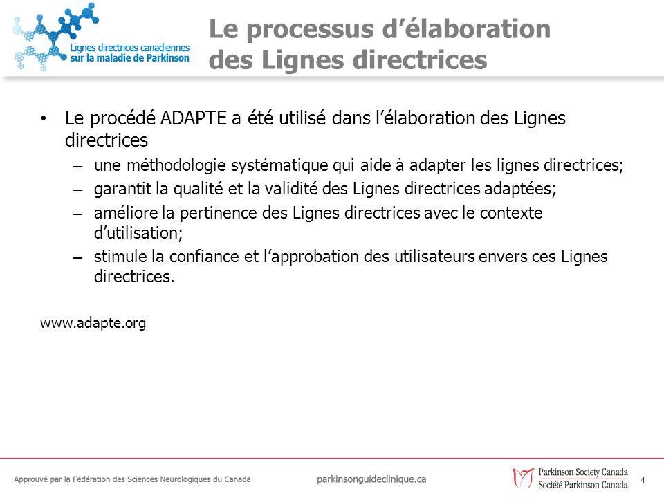 4 Le processus délaboration des Lignes directrices Le procédé ADAPTE a été utilisé dans lélaboration des Lignes directrices – une méthodologie systéma