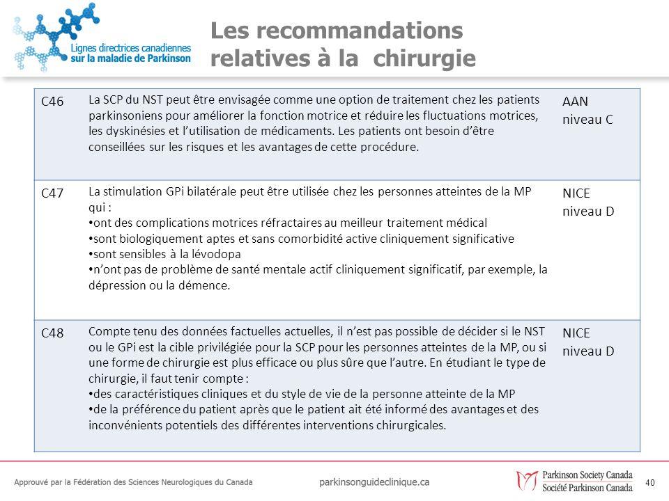41 Les recommandations relatives à la chirurgie C49La SCP thalamique peut être envisagée comme une option pour les personnes atteintes de la MP ayant principalement des tremblements graves invalidants et pour qui la stimulation du NST ne peut pas être utilisée.