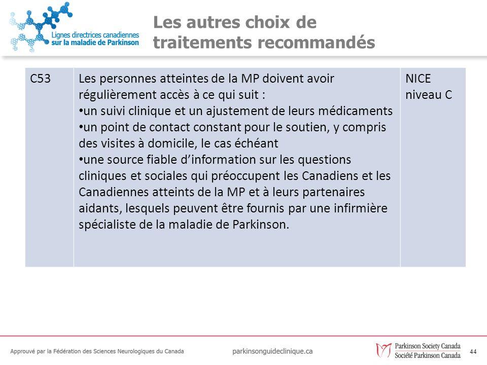44 Les autres choix de traitements recommandés C53Les personnes atteintes de la MP doivent avoir régulièrement accès à ce qui suit : un suivi clinique
