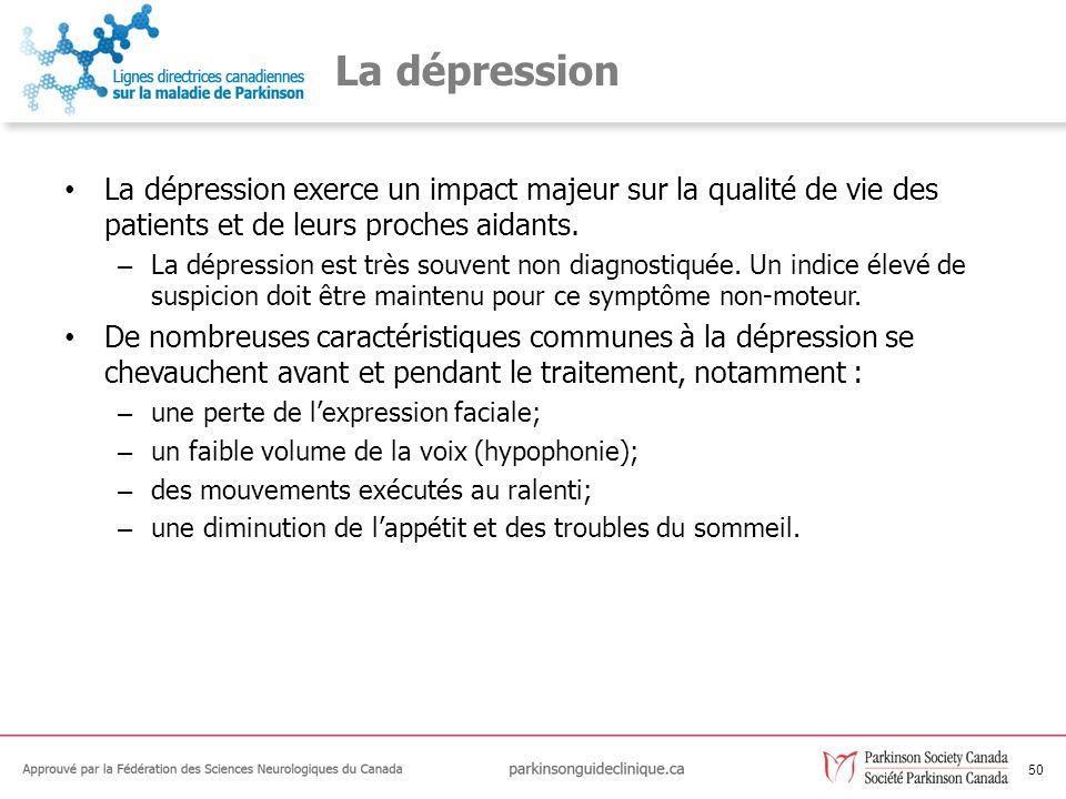 51 Les recommandations relatives à la dépression C58Les cliniciens doivent utiliser des critères ouverts pour le diagnostic de la dépression chez les personnes atteintes de la MP.