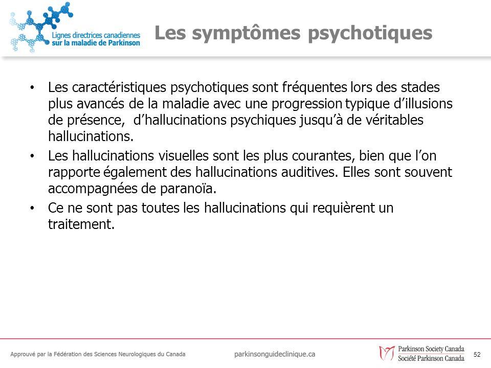 53 Les recommandations relatives aux symptômes psychotiques C62Toutes les personnes atteintes de la MP et de psychose doivent recevoir une évaluation médicale générale et un traitement pour tout état précipitant.
