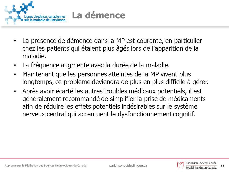 55 La démence La présence de démence dans la MP est courante, en particulier chez les patients qui étaient plus âgés lors de lapparition de la maladie