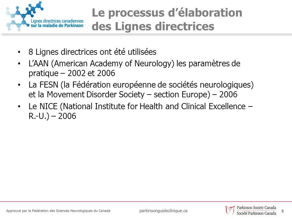 6 Le processus délaboration des Lignes directrices 8 Lignes directrices ont été utilisées LAAN (American Academy of Neurology) les paramètres de prati