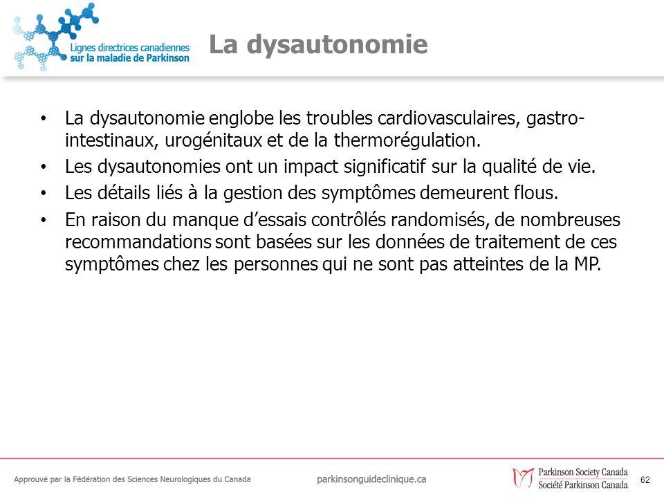 63 Les recommandations relatives à la dysautonomie C79Les personnes atteintes de la MP doivent être traitées de façon appropriée pour les dysautonomies suivantes : le dysfonctionnement urinaire; la perte de poids; la dysphagie; la constipation; la dysfonction érectile; lhypotension orthostatique; la sudation excessive; la sialorrhoea.