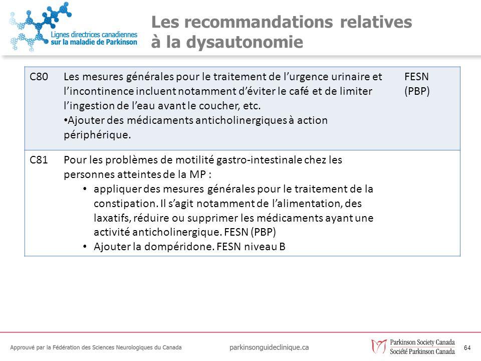 64 Les recommandations relatives à la dysautonomie C80Les mesures générales pour le traitement de lurgence urinaire et lincontinence incluent notammen