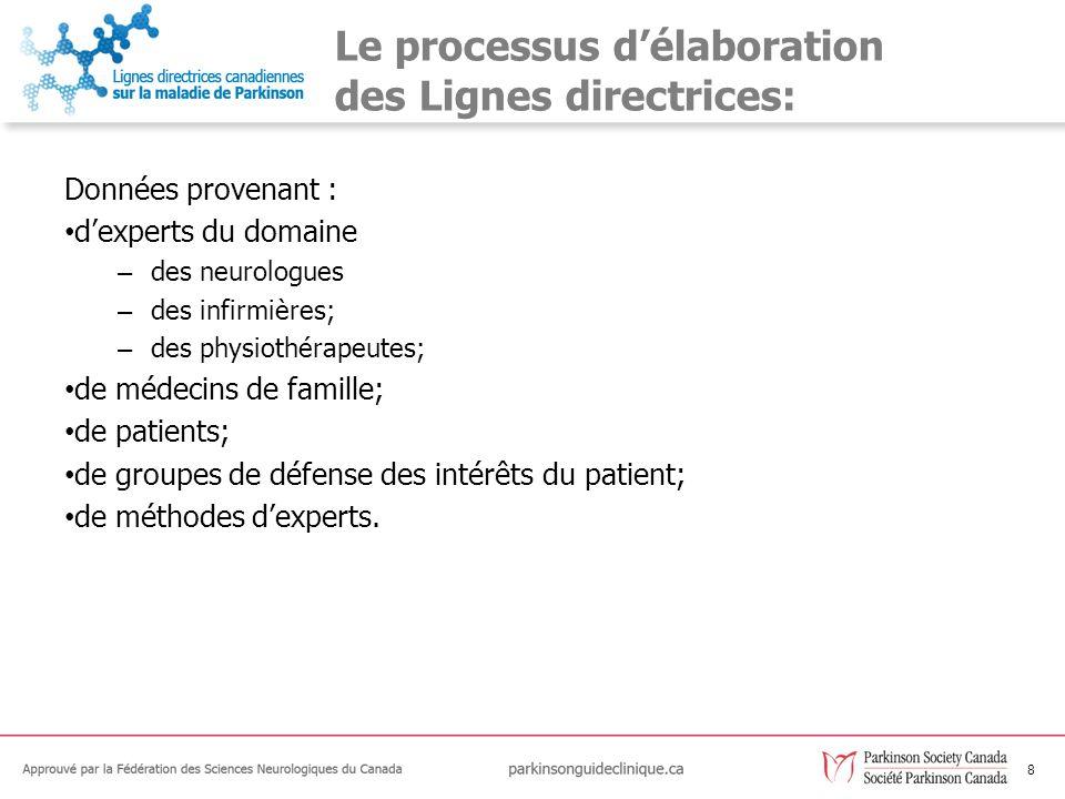 8 Le processus délaboration des Lignes directrices: Données provenant : dexperts du domaine – des neurologues – des infirmières; – des physiothérapeut