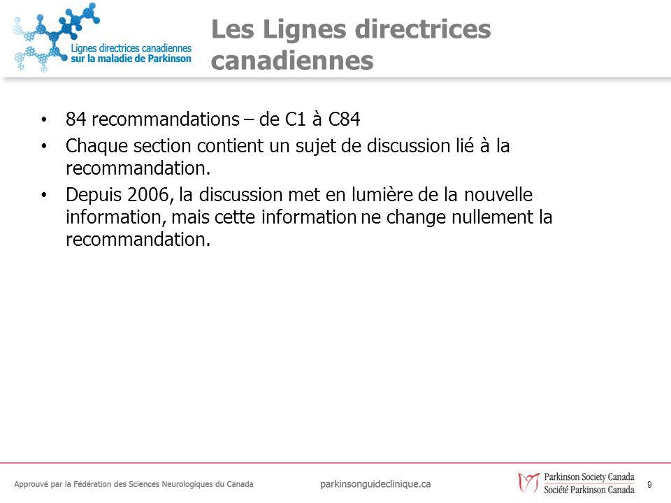 9 Les Lignes directrices canadiennes 84 recommandations – de C1 à C84 Chaque section contient un sujet de discussion lié à la recommandation. Depuis 2